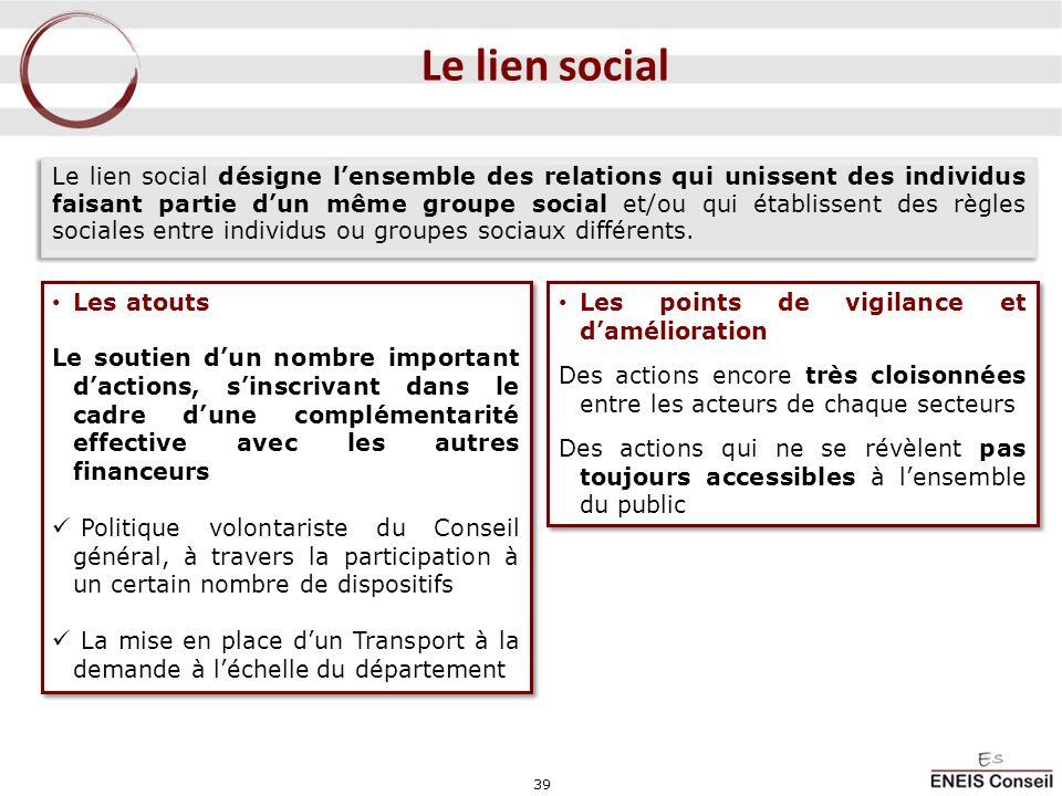 39 Le lien social Le lien social désigne lensemble des relations qui unissent des individus faisant partie dun même groupe social et/ou qui établissen