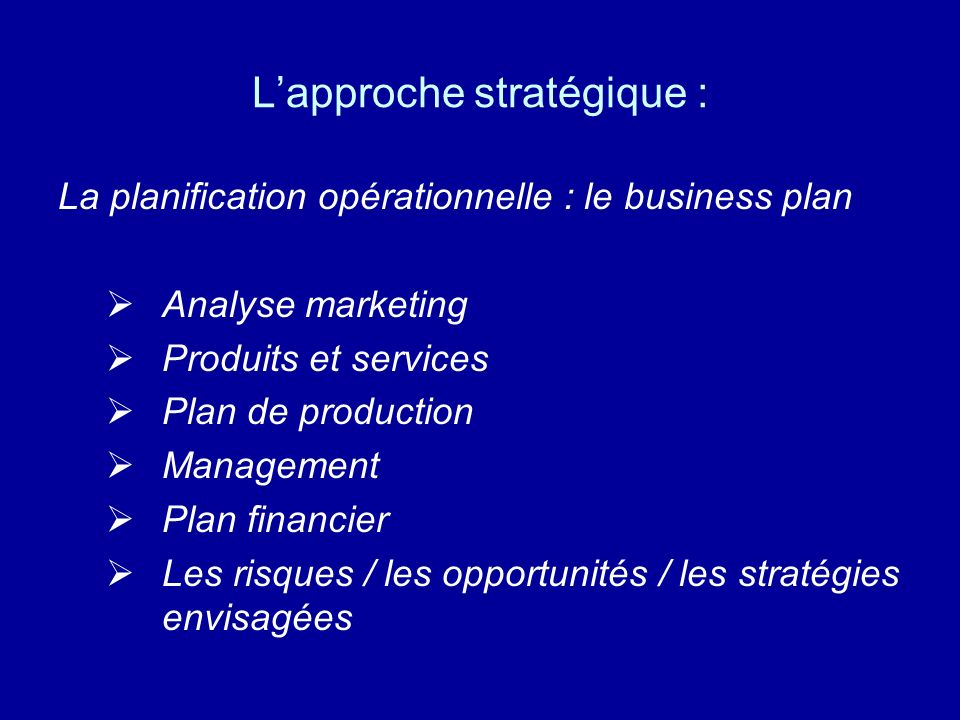 Lapproche stratégique : La planification opérationnelle : le business plan Analyse marketing Produits et services Plan de production Management Plan f