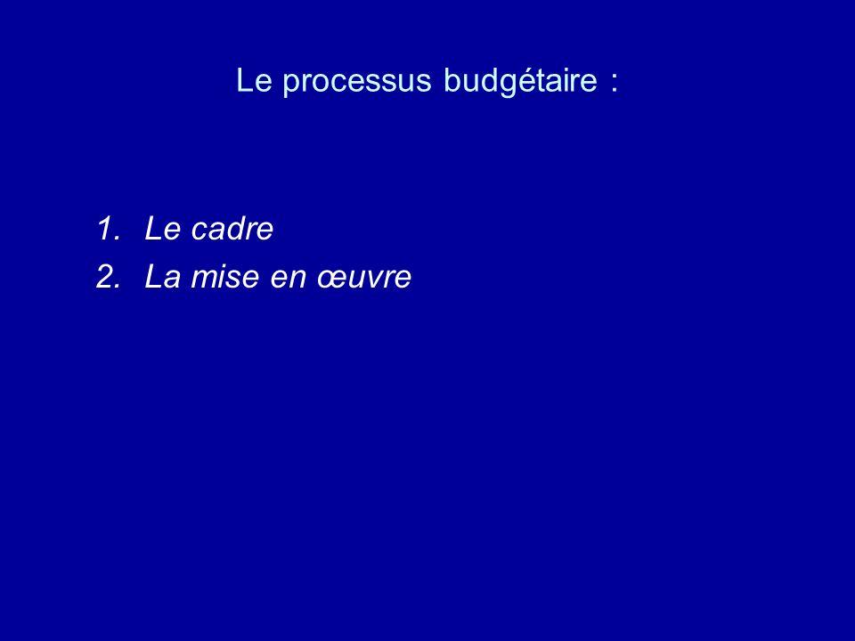 I - Cadre du processus budgétaire : A.Le principe B.Le déroulement C.La structure organisationnelle