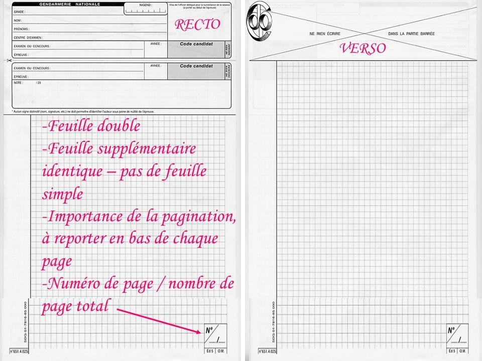 RECTO VERSO -Feuille double -Feuille supplémentaire identique – pas de feuille simple -Importance de la pagination, à reporter en bas de chaque page -Numéro de page / nombre de page total