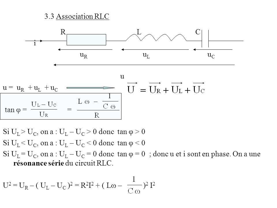3.3 Association RLC R L C i u R u L u C u u = u R + u L + u C tan φ = = Si U L > U C, on a : U L – U C > 0 donc tan φ > 0 Si U L < U C, on a : U L – U