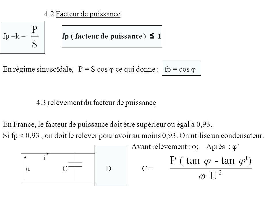 4.2 Facteur de puissance fp =k = fp ( facteur de puissance ) 1 En régime sinusoïdale, P = S cos φ ce qui donne : fp = cos φ 4.3 relèvement du facteur