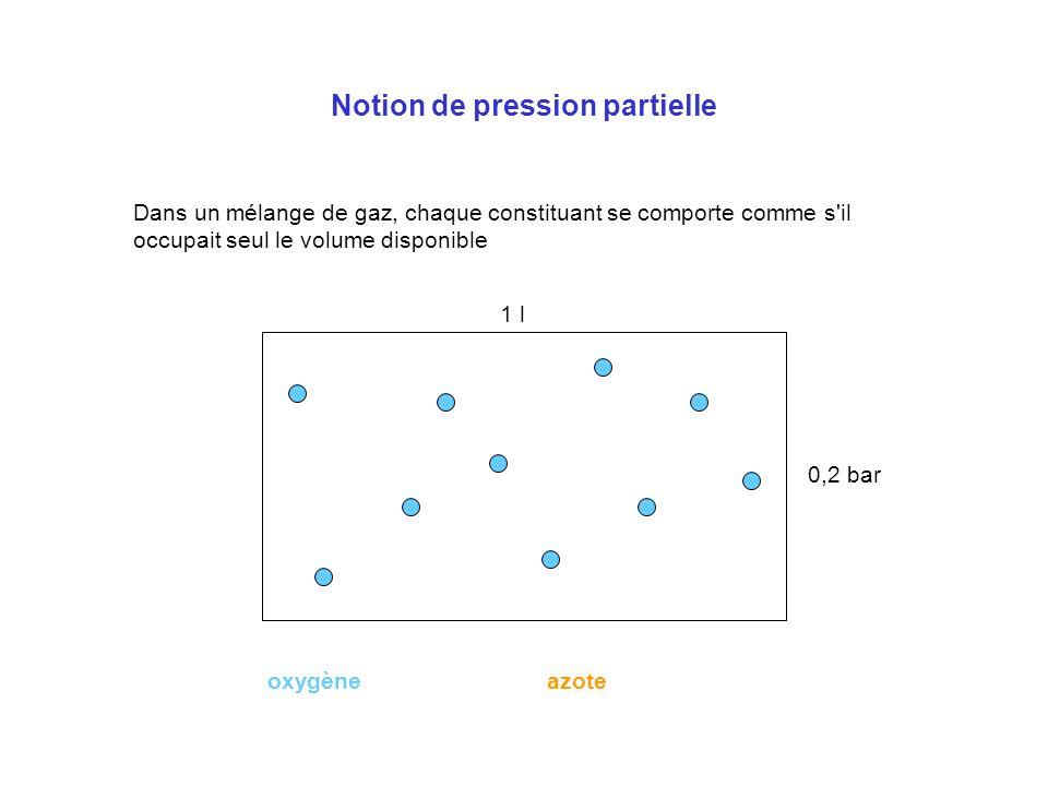 Notion de pression partielle Dans un mélange de gaz, chaque constituant se comporte comme s'il occupait seul le volume disponible 0,2 l0,8 l 1 bar 1 l