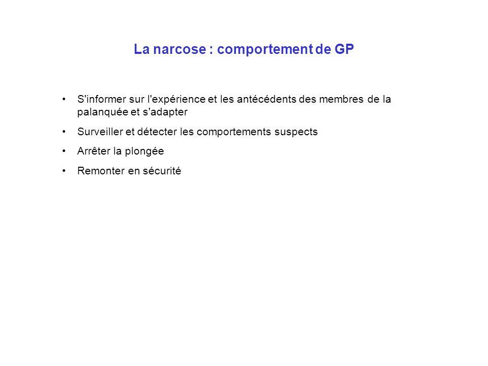 La narcose : comportement de GP S'informer sur l'expérience et les antécédents des membres de la palanquée et s'adapter Surveiller et détecter les com