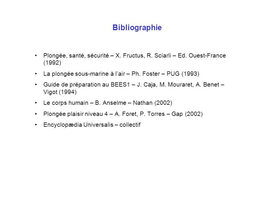 Bibliographie Plongée, santé, sécurité – X. Fructus, R. Sciarli – Ed. Ouest-France (1992) La plongée sous-marine à lair – Ph. Foster – PUG (1993) Guid