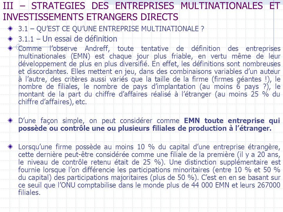 III – STRATEGIES DES ENTREPRISES MULTINATIONALES ET INVESTISSEMENTS ETRANGERS DIRECTS 3.1 – QUEST CE QUUNE ENTREPRISE MULTINATIONALE ? 3.1.1 – Un essa