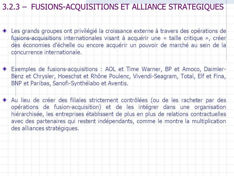3.2.3 – FUSIONS-ACQUISITIONS ET ALLIANCE STRATEGIQUES Les grands groupes ont privilégié la croissance externe à travers des opérations de fusions-acqu