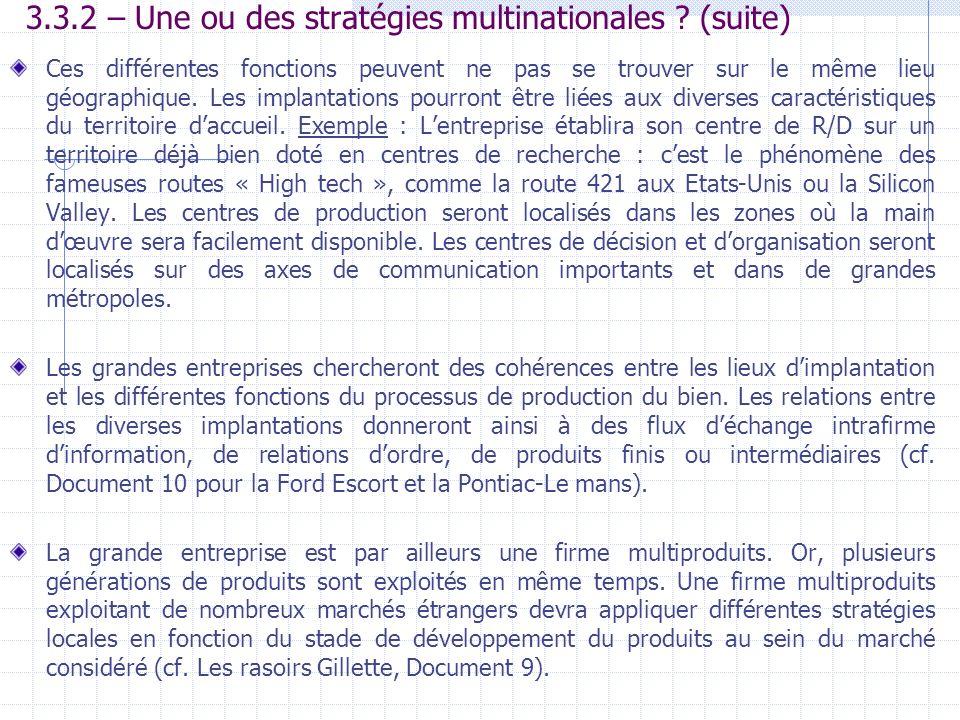 3.3.2 – Une ou des stratégies multinationales ? (suite) Ces différentes fonctions peuvent ne pas se trouver sur le même lieu géographique. Les implant