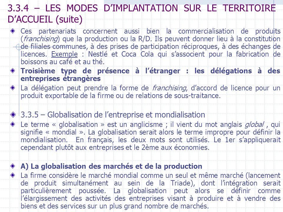3.3.4 – LES MODES DIMPLANTATION SUR LE TERRITOIRE DACCUEIL (suite) Ces partenariats concernent aussi bien la commercialisation de produits (franchisin