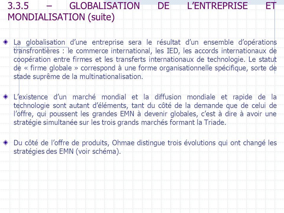 3.3.5 – GLOBALISATION DE LENTREPRISE ET MONDIALISATION (suite) La globalisation dune entreprise sera le résultat dun ensemble dopérations transfrontiè