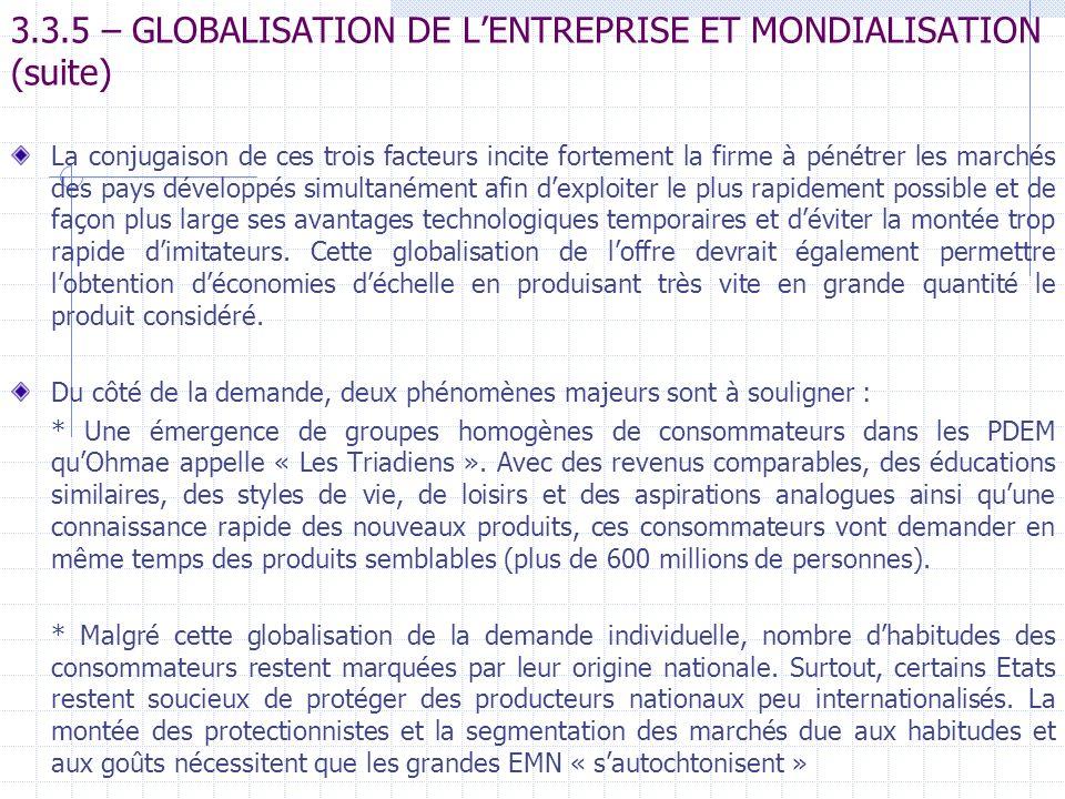 3.3.5 – GLOBALISATION DE LENTREPRISE ET MONDIALISATION (suite) La conjugaison de ces trois facteurs incite fortement la firme à pénétrer les marchés d