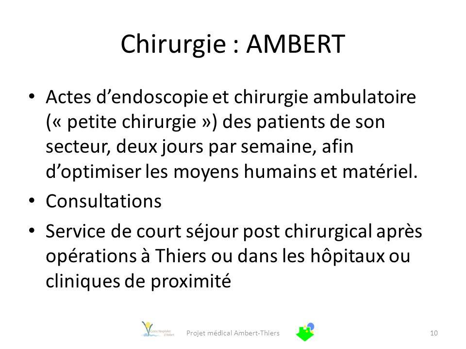 Chirurgie : AMBERT Actes dendoscopie et chirurgie ambulatoire (« petite chirurgie ») des patients de son secteur, deux jours par semaine, afin doptimi