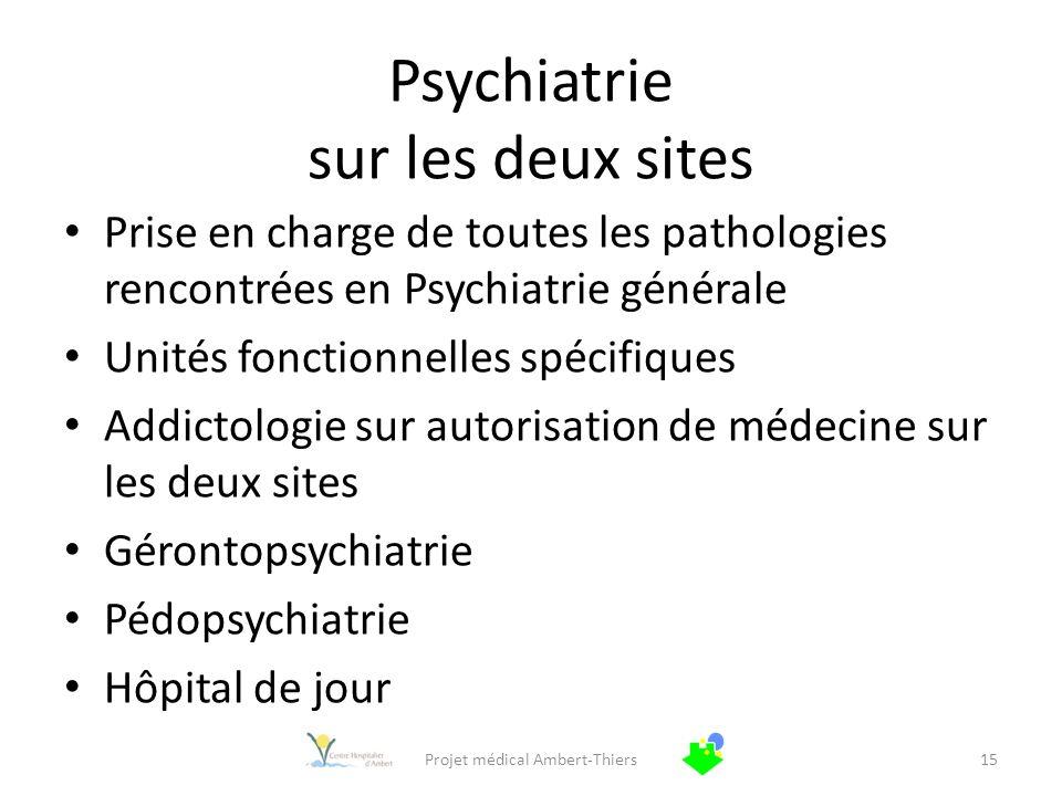 Psychiatrie sur les deux sites Prise en charge de toutes les pathologies rencontrées en Psychiatrie générale Unités fonctionnelles spécifiques Addicto