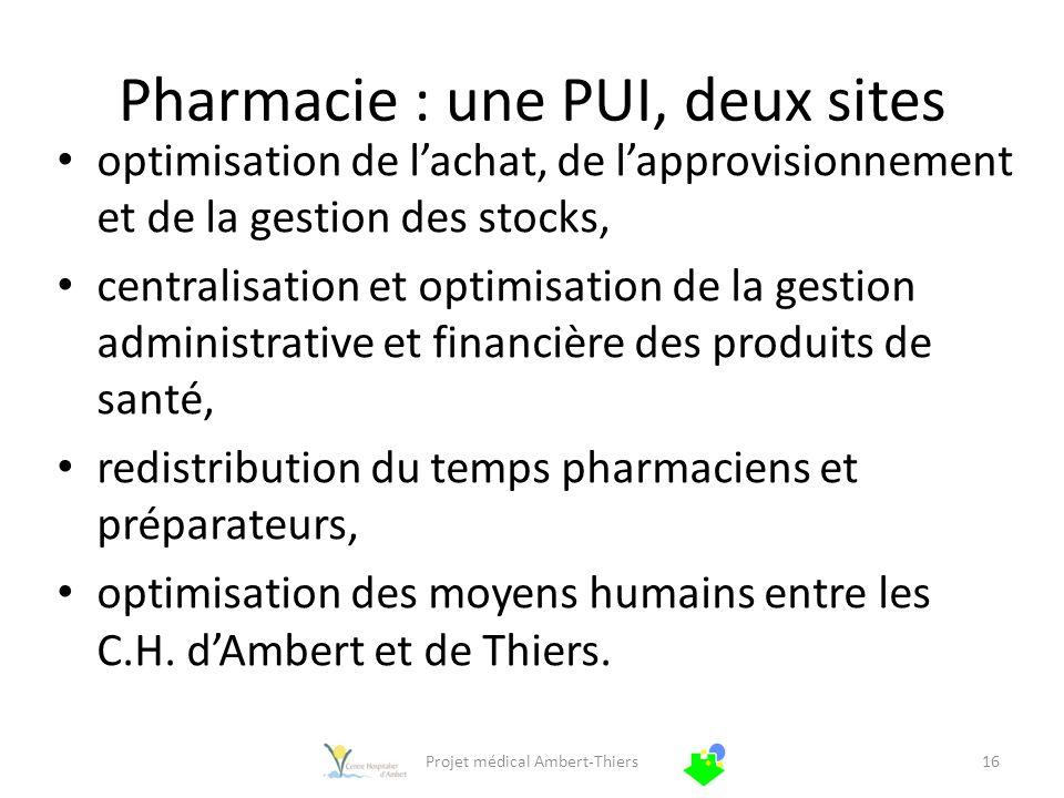 Pharmacie : une PUI, deux sites optimisation de lachat, de lapprovisionnement et de la gestion des stocks, centralisation et optimisation de la gestio