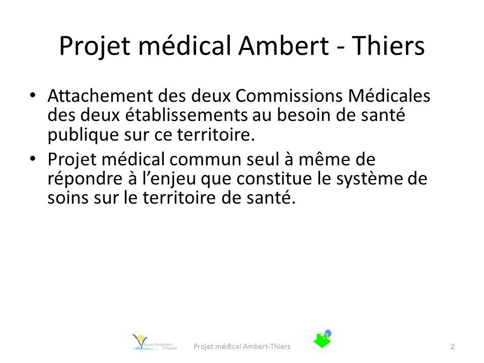 Projet médical Ambert - Thiers Attachement des deux Commissions Médicales des deux établissements au besoin de santé publique sur ce territoire. Proje