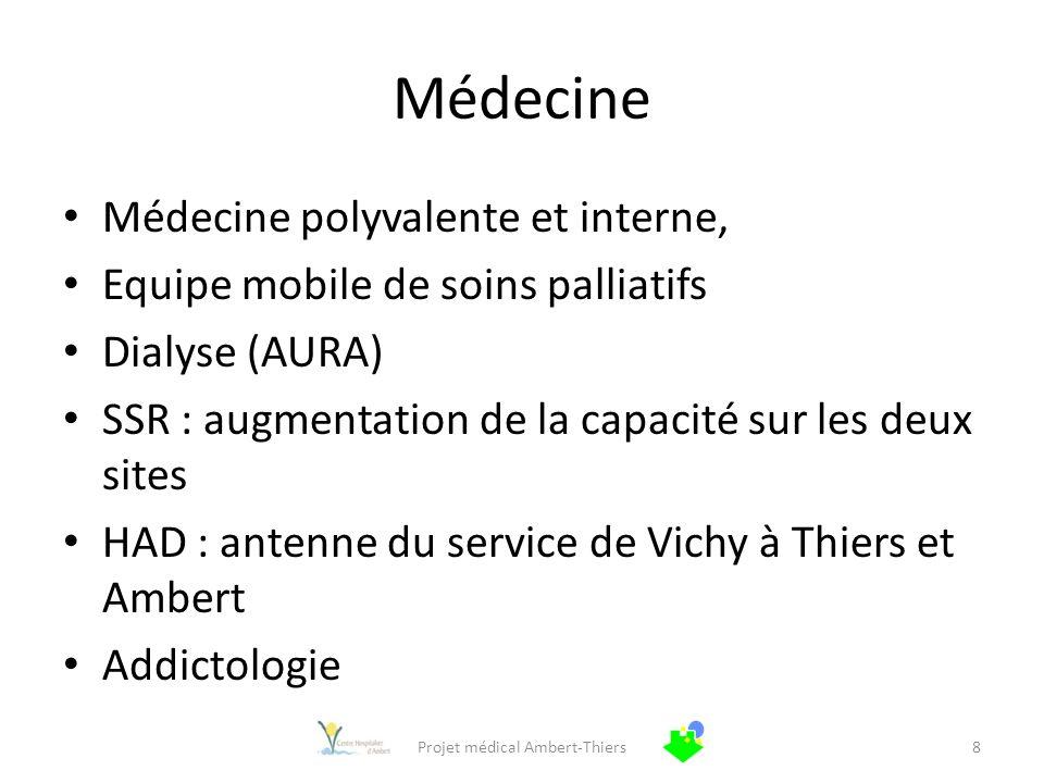 Médecine Médecine polyvalente et interne, Equipe mobile de soins palliatifs Dialyse (AURA) SSR : augmentation de la capacité sur les deux sites HAD :