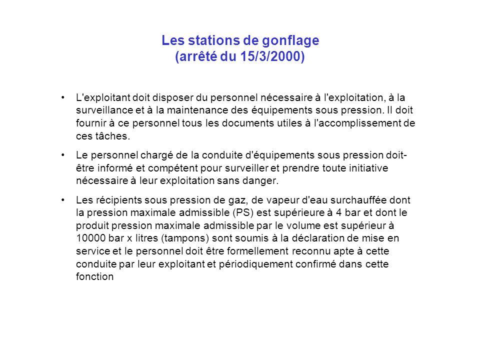 Les stations de gonflage (arrêté du 15/3/2000) L'exploitant doit disposer du personnel nécessaire à l'exploitation, à la surveillance et à la maintena