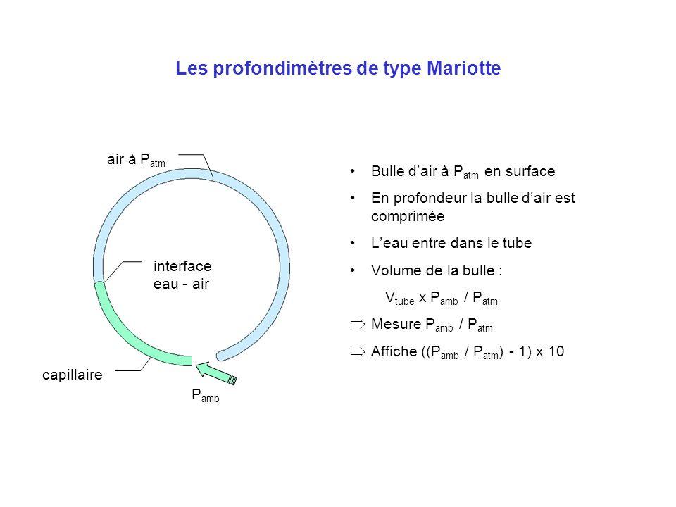 Les profondimètres de type Mariotte Bulle dair à P atm en surface En profondeur la bulle dair est comprimée Leau entre dans le tube Volume de la bulle
