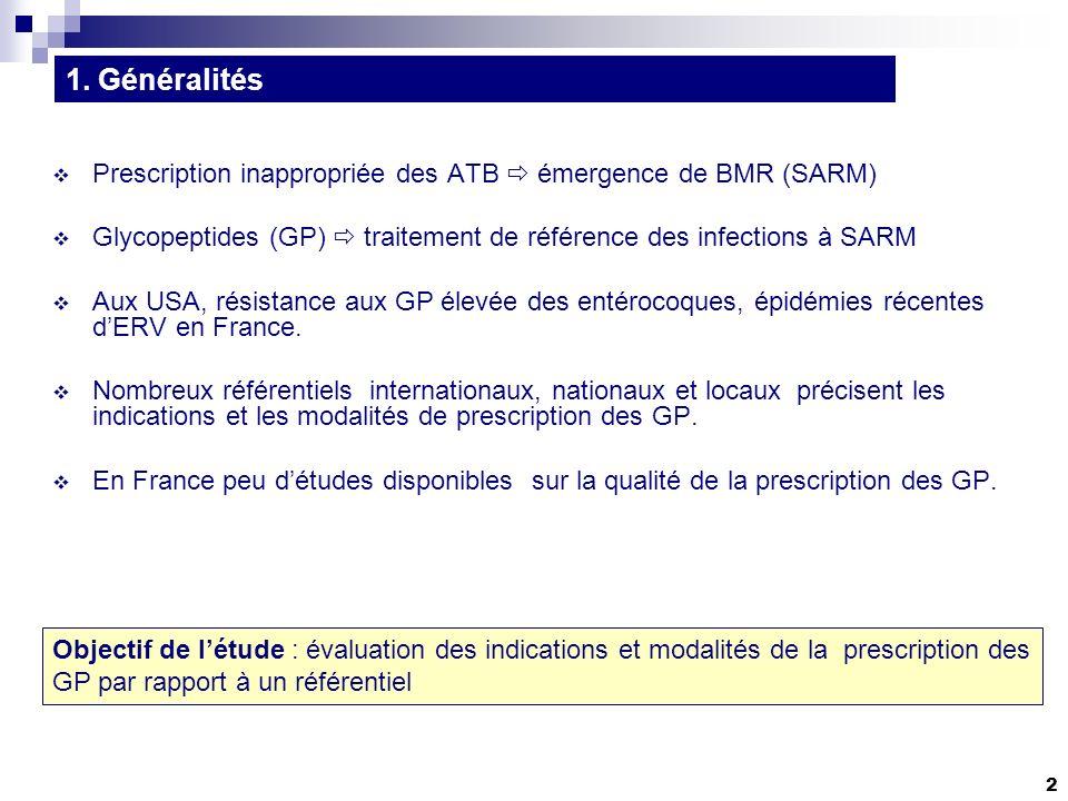 2 Prescription inappropriée des ATB émergence de BMR (SARM) Glycopeptides (GP) traitement de référence des infections à SARM Aux USA, résistance aux GP élevée des entérocoques, épidémies récentes dERV en France.