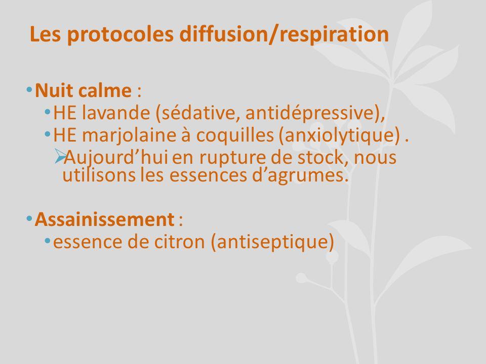 Les protocoles diffusion/respiration Nuit calme : HE lavande (sédative, antidépressive), HE marjolaine à coquilles (anxiolytique). Aujourdhui en ruptu