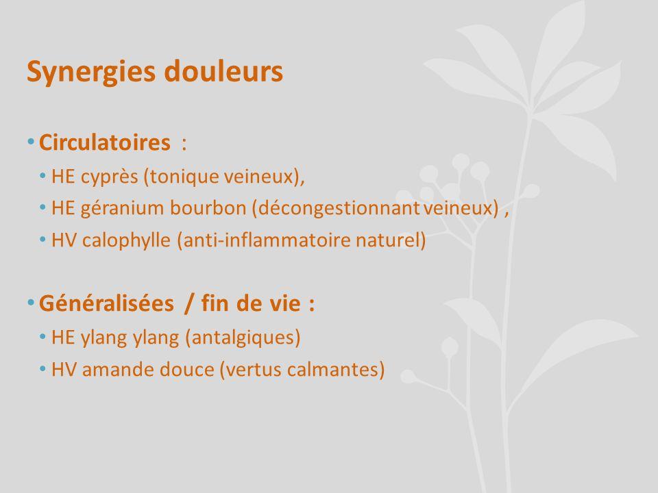 Synergies douleurs Circulatoires : HE cyprès (tonique veineux), HE géranium bourbon (décongestionnant veineux), HV calophylle (anti-inflammatoire natu