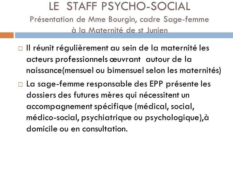 Participent à ce Staff, selon les maternités : - sages –femmes EPP, cadre S-F et pédiatre de la maternité - Equipe de PMI : sages-femmes et puéricultrices - Assistante sociale de lhôpital - Equipe de psychiatrie périnatale