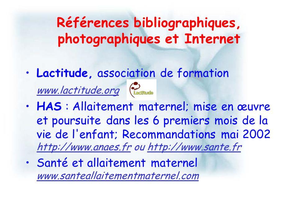 Références bibliographiques, photographiques et Internet Lactitude, association de formation www.lactitude.org HAS : Allaitement maternel; mise en œuv