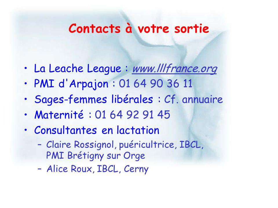 Contacts à votre sortie La Leache League : www.lllfrance.org PMI d'Arpajon : 01 64 90 36 11 Sages-femmes libérales : Cf. annuaire Maternité : 01 64 92