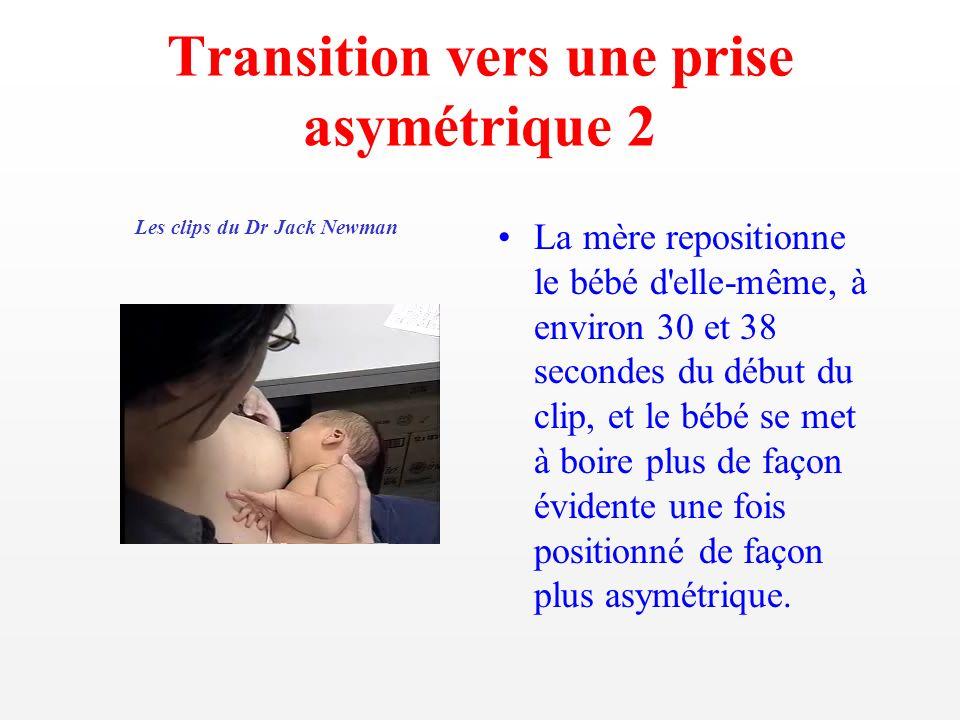 Transition vers une prise asymétrique 2 La mère repositionne le bébé d'elle-même, à environ 30 et 38 secondes du début du clip, et le bébé se met à bo