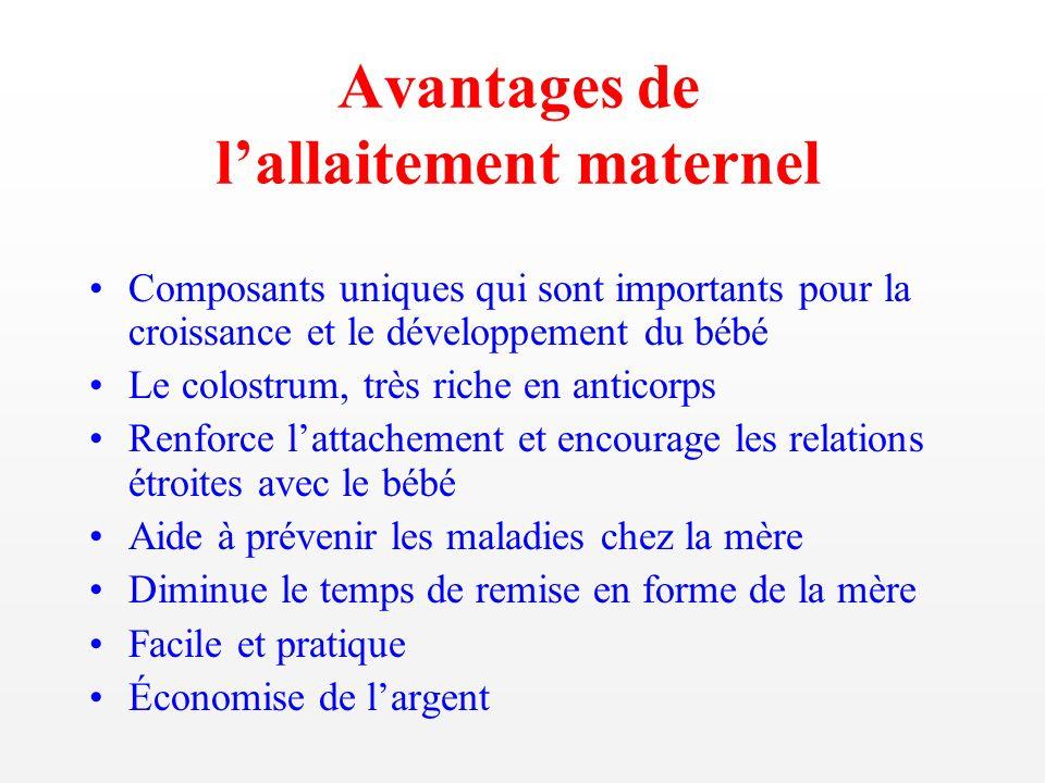 Avantages de lallaitement maternel Composants uniques qui sont importants pour la croissance et le développement du bébé Le colostrum, très riche en a