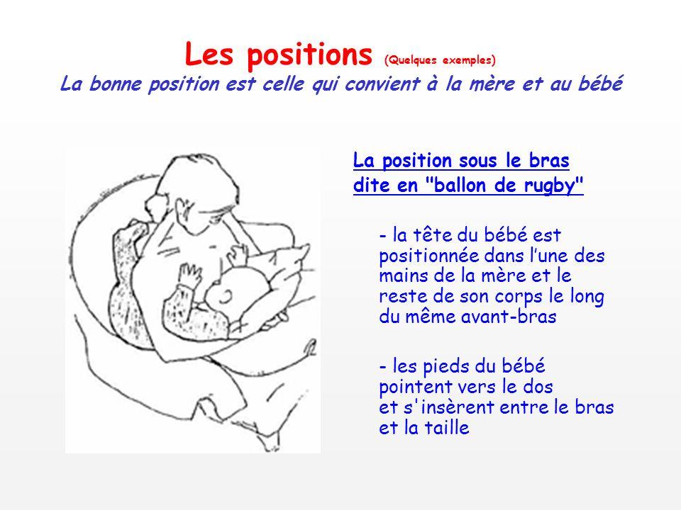 Les positions (Quelques exemples) La bonne position est celle qui convient à la mère et au bébé La position sous le bras dite en