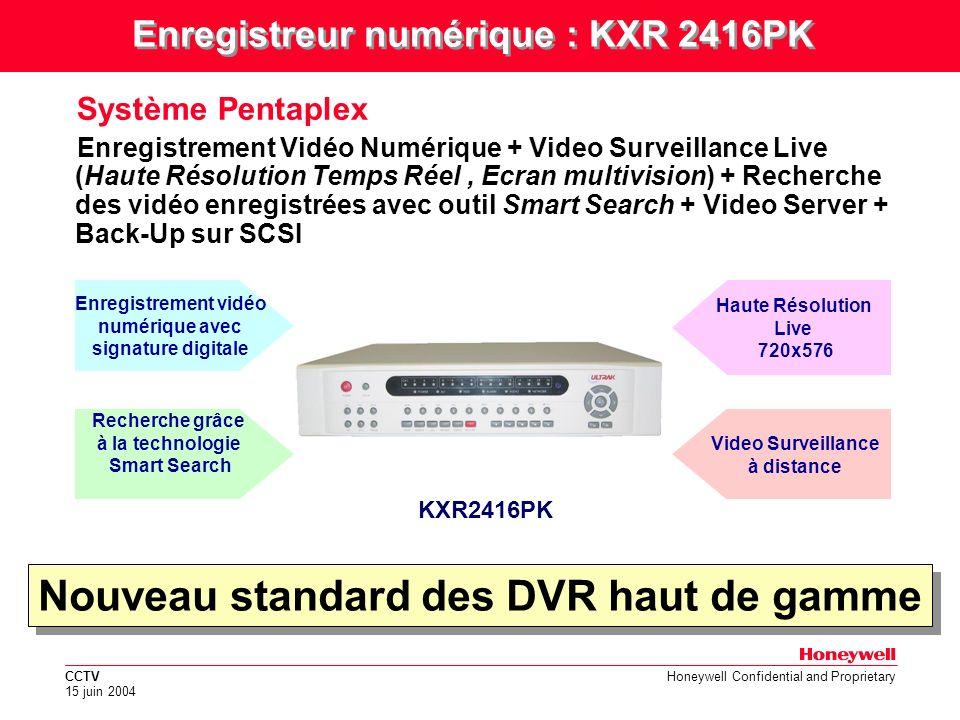 CCTV 15 juin 2004 Honeywell Confidential and Proprietary DVR EMBEDDED RTOS-PENTAPLEX-MPEG4 Caractéristiques générales Architecture Embedded (pas une Base PC) & Systéme dexploitation RTOS (Real Time Operating System) Système PENTAPLEX (Live + Enregistrement + PlayBack + BackUp + Réseau) Compression MPEG-4 –Taille moyenne pour image hte résolution 2-5KB –80% meilleure que JPEG .
