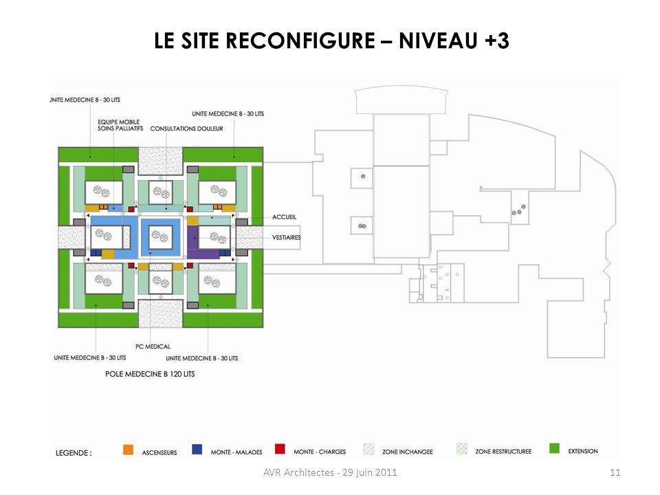 AVR Architectes - 29 juin 201111 LE SITE RECONFIGURE – NIVEAU +3