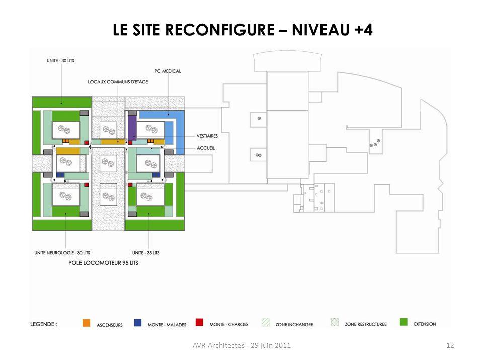 AVR Architectes - 29 juin 201112 LE SITE RECONFIGURE – NIVEAU +4