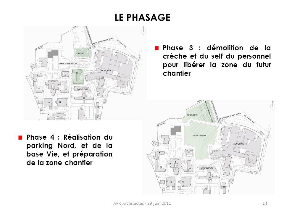 AVR Architectes - 29 juin 201114 LE PHASAGE Phase 3 : démolition de la crèche et du self du personnel pour libérer la zone du futur chantier Phase 4 :