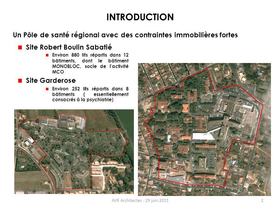 AVR Architectes - 29 juin 20112 INTRODUCTION Site Robert Boulin Sabatié Environ 880 lits répartis dans 12 bâtiments, dont le bâtiment MONOBLOC, socle