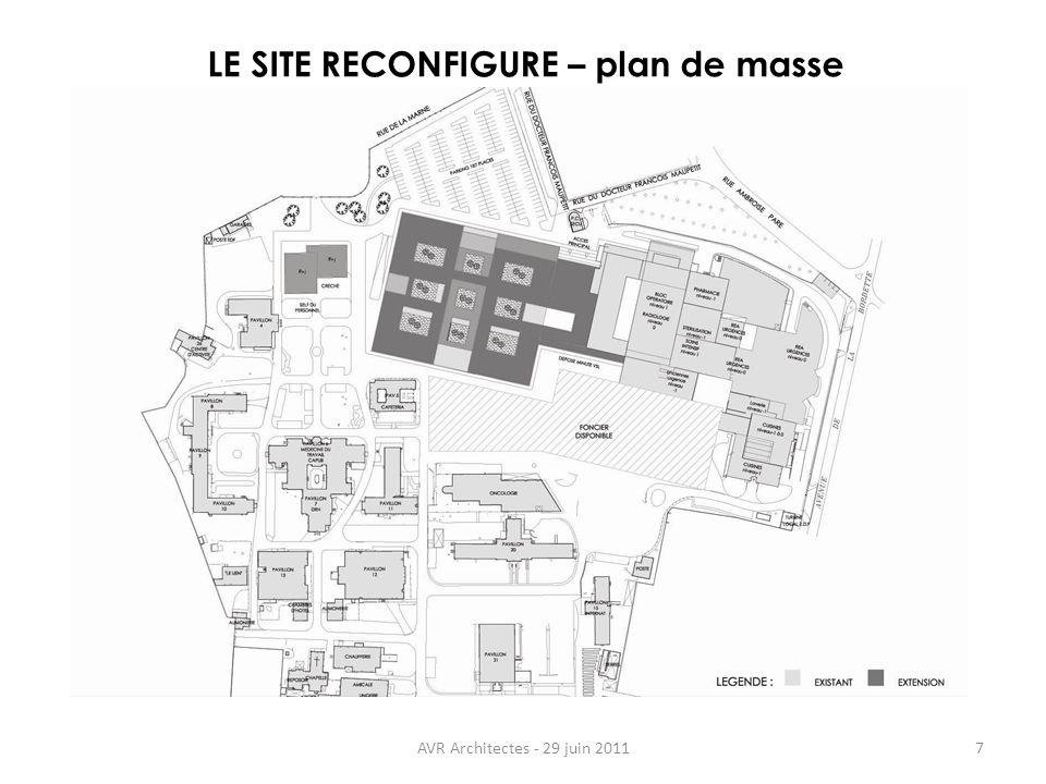 AVR Architectes - 29 juin 20117 LE SITE RECONFIGURE – plan de masse