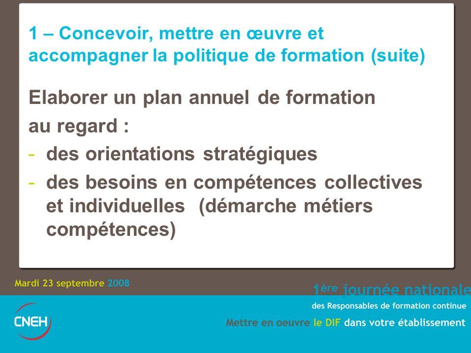 1 – Concevoir, mettre en œuvre et accompagner la politique de formation (suite) Elaborer un plan annuel de formation au regard : -des orientations stratégiques -des besoins en compétences collectives et individuelles (démarche métiers compétences)