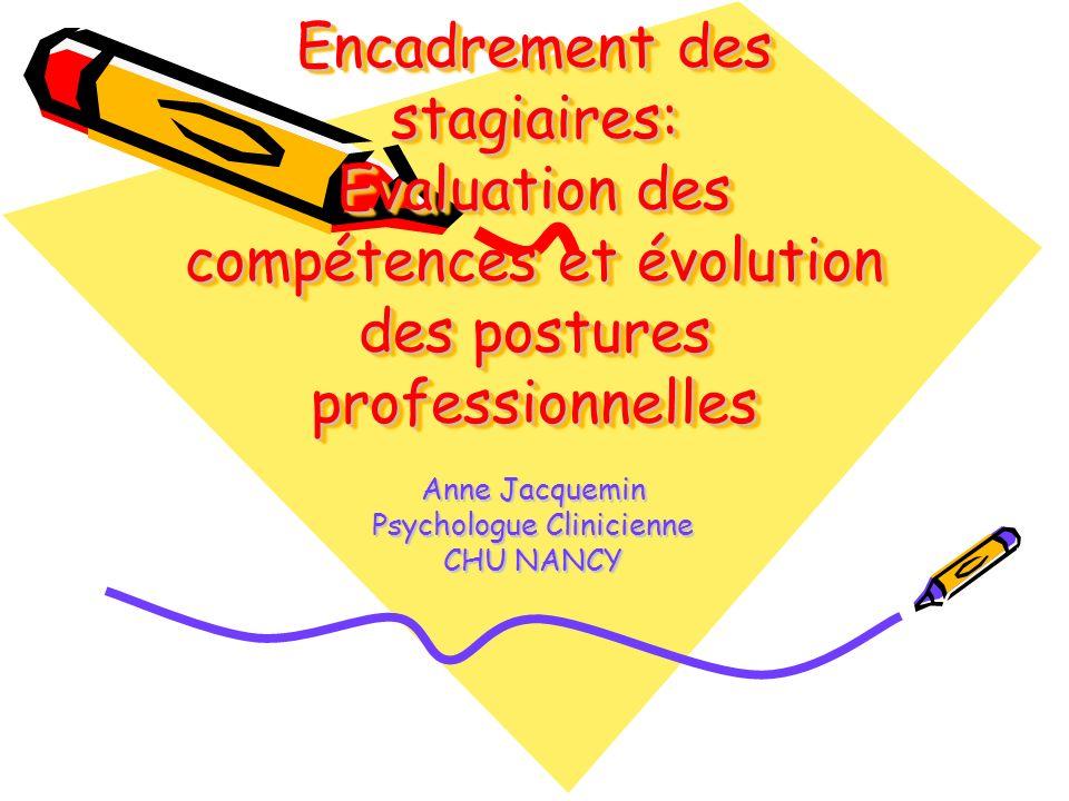 Encadrement des stagiaires: Evaluation des compétences et évolution des postures professionnelles Anne Jacquemin Psychologue Clinicienne CHU NANCY
