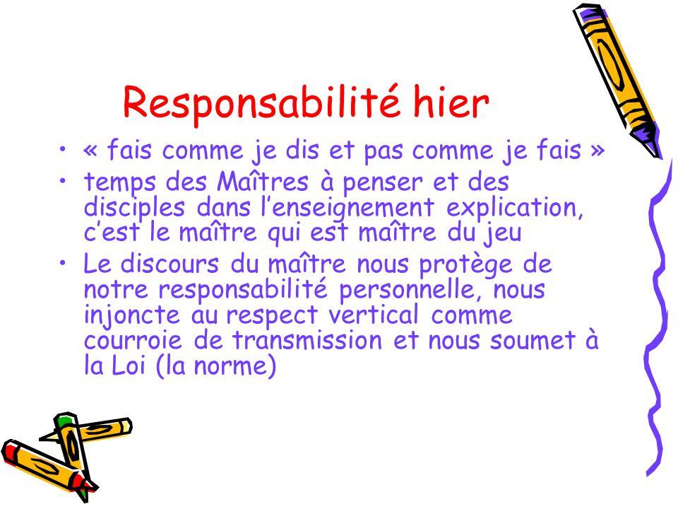 Responsabilité hier « fais comme je dis et pas comme je fais » temps des Maîtres à penser et des disciples dans lenseignement explication, cest le maî