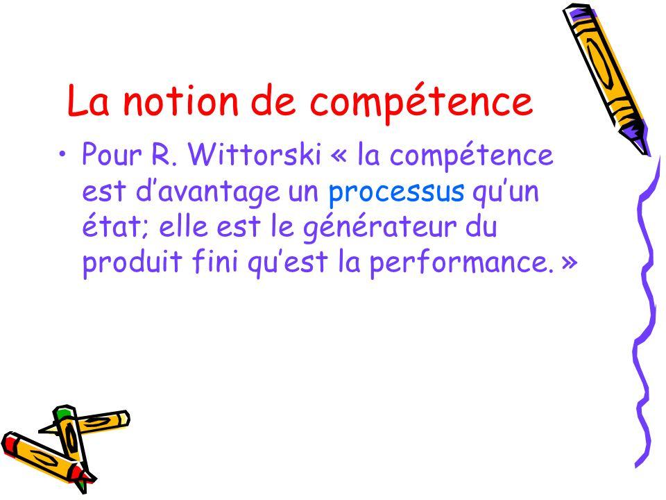 La notion de compétence Pour R. Wittorski « la compétence est davantage un processus quun état; elle est le générateur du produit fini quest la perfor