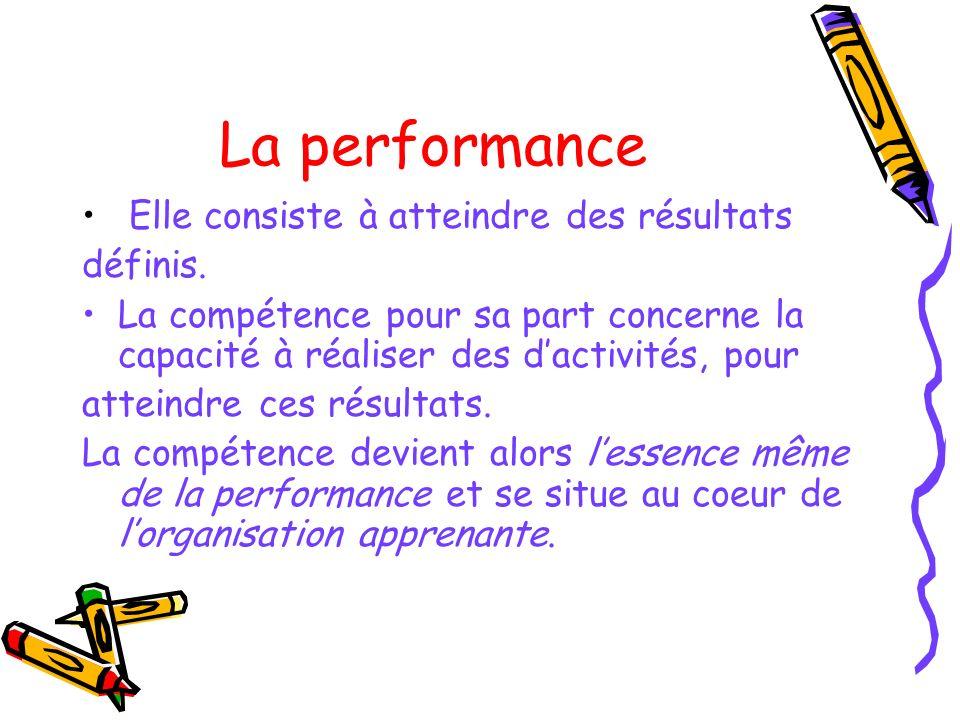 La performance Elle consiste à atteindre des résultats définis. La compétence pour sa part concerne la capacité à réaliser des dactivités, pour attein