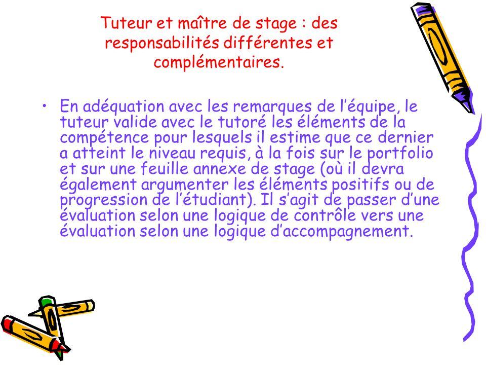 Tuteur et maître de stage : des responsabilités différentes et complémentaires. En adéquation avec les remarques de léquipe, le tuteur valide avec le