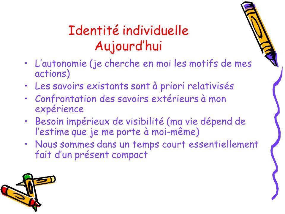 Identité individuelle Aujourdhui Lautonomie (je cherche en moi les motifs de mes actions) Les savoirs existants sont à priori relativisés Confrontatio