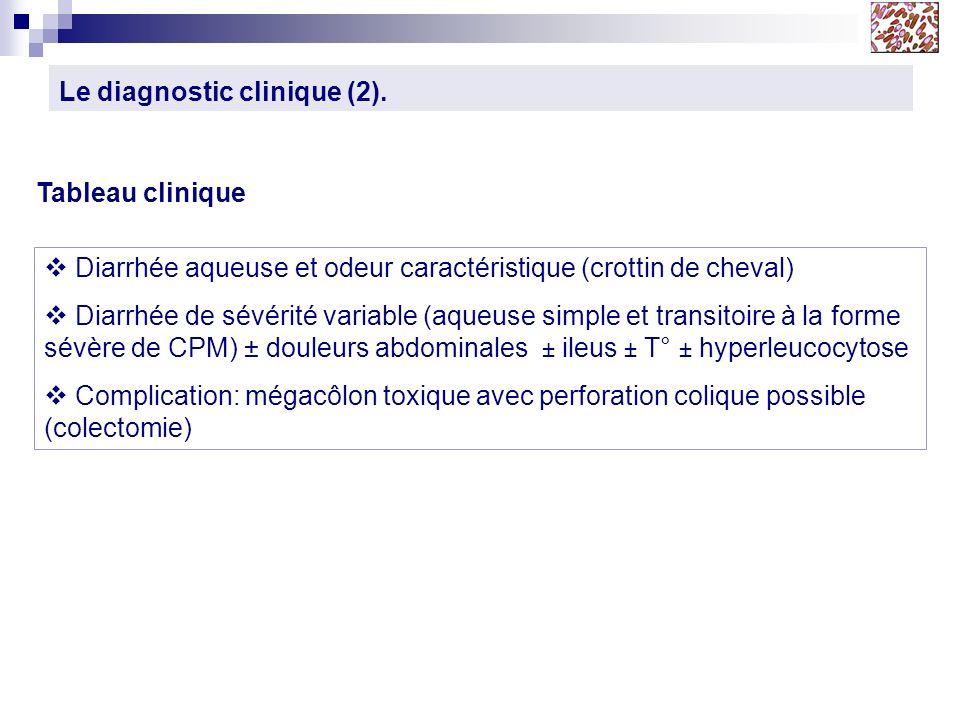 Le diagnostic clinique (2). Diarrhée aqueuse et odeur caractéristique (crottin de cheval) Diarrhée de sévérité variable (aqueuse simple et transitoire