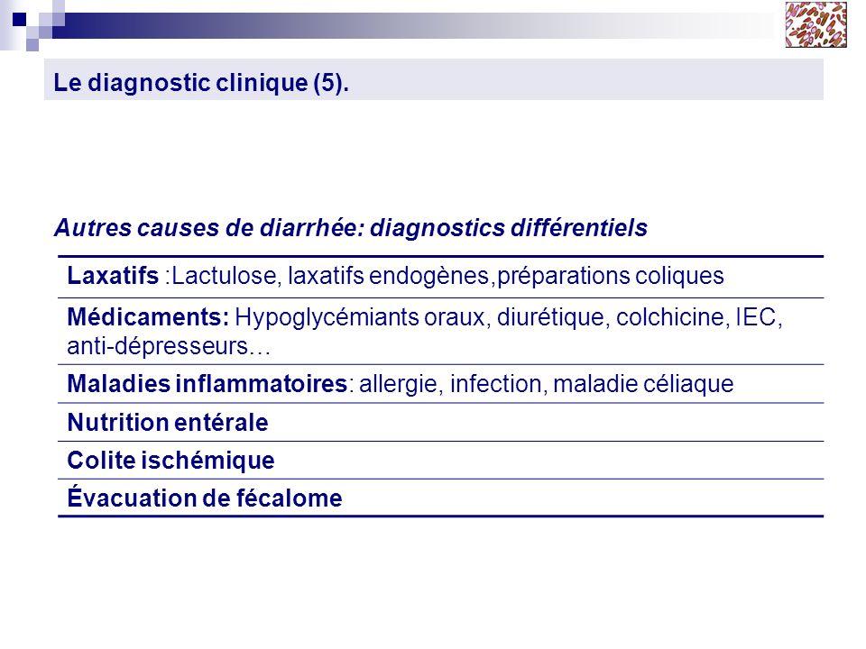 Le diagnostic clinique (5). Autres causes de diarrhée: diagnostics différentiels Laxatifs :Lactulose, laxatifs endogènes,préparations coliques Médicam