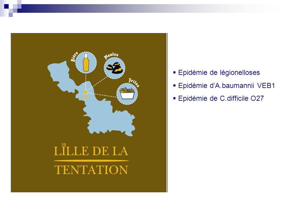 Epidémie de légionelloses Epidémie dA.baumannii VEB1 Epidémie de C.difficile O27