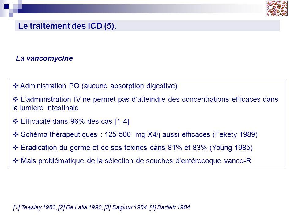 Le traitement des ICD (5). La vancomycine Administration PO (aucune absorption digestive) Ladministration IV ne permet pas datteindre des concentratio