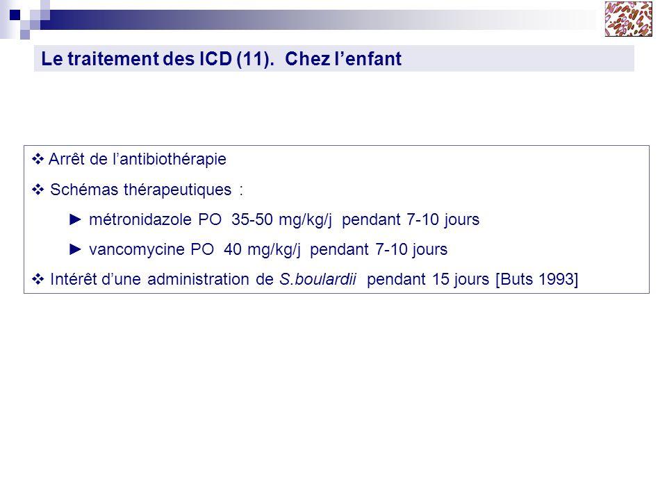 Le traitement des ICD (11). Chez lenfant Arrêt de lantibiothérapie Schémas thérapeutiques : métronidazole PO 35-50 mg/kg/j pendant 7-10 jours vancomyc