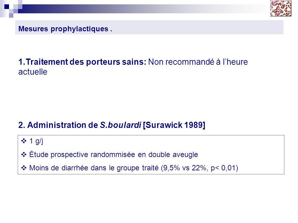 Mesures prophylactiques. 1 g/j Étude prospective randommisée en double aveugle Moins de diarrhée dans le groupe traité (9,5% vs 22%, p< 0,01) 1.Traite